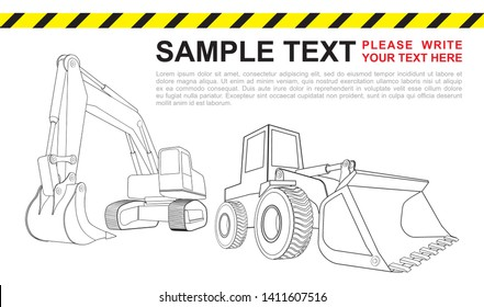 Bulldozer and excavator. Heavy road construction machinery. Can be used in web and other design purposes for construction company.