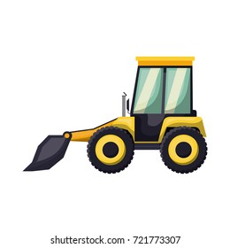 bulldozer flat icon colorful silhouette with half shadow vector illustration