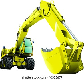 bulldozer with a huge scoop posing on white background