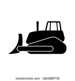Bulldozer icon. Black silhouette. Side view. Vector flat graphic illustration. The isolated object on a white background. Isolate.