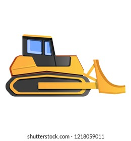 Bulldozer icon. Cartoon of bulldozer vector icon for web design isolated on white background