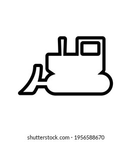 Bulldozer icon. Crawler. Black contour linear silhouette. Side view. Vector simple flat graphic illustration. The isolated object on a white background. Isolate.
