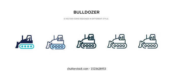 bulldozer icon in different style vector illustration. two colored and black bulldozer vector icons designed in filled, outline, line and stroke style can be used for web, mobile, ui