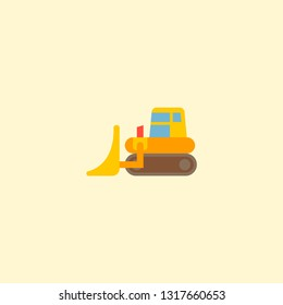 Bulldozer icon flat element. Vector illustration of bulldozer icon flat isolated on clean background for your web mobile app logo design.
