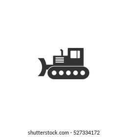 Bulldozer icon flat. Illustration isolated vector sign symbol