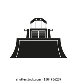 Bulldozer icon. Front view. Black silhouette. Vector drawing. Isolated object on a white background. Isolate.