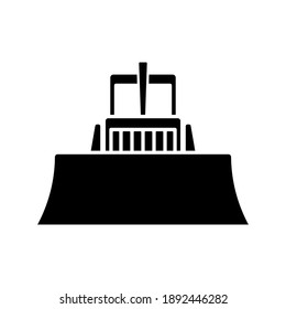 Bulldozer icon. Front view. Black silhouette. Vector flat graphic illustration. The isolated object on a white background. Isolate.