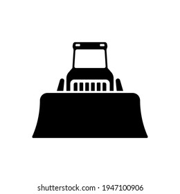 Bulldozer icon. Heavy tracked tractor with blade. Black silhouette. Front view. Vector simple flat graphic illustration. The isolated object on a white background. Isolate.