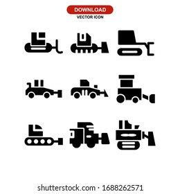 bulldozer icon or logo isolated sign symbol vector illustration - Collection of high quality black style vector icons