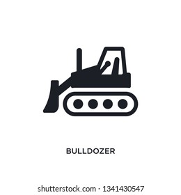 bulldozer isolated icon. simple element illustration from construction concept icons. bulldozer editable logo sign symbol design on white background. can be use for web and mobile