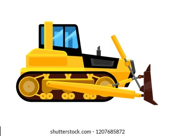 Bulldozer isolated. Quarry hydraulic machine for work front end yellow loader builders equipment vehicle vector cartoon illustration