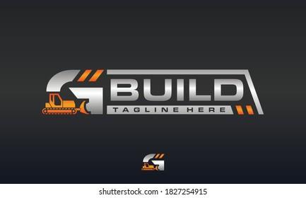 the bulldozer letter G logo