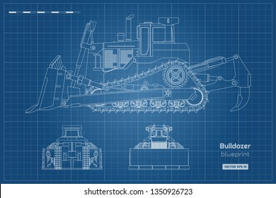 Bulldozer in outline style. Front, side and back view of digger. Building machinery image. Industrial isolated drawing of dozer. Diesel vehicle blueprint. Vector illustration