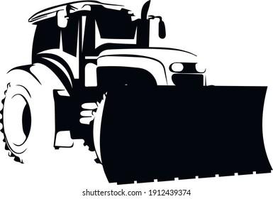 bulldozer tractor industry machinery equipment vector transportation illustration silhouette vehicle machine