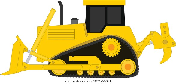 Bulldozer vector illustration isolated on white background. Icon of heavy equipment for the construction business. Graphic of yellow bulldozer for the logo and print.