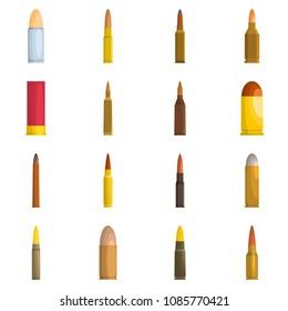 Bullet gun military icons set. Flat illustration of 16 bullet gun military vector icons isolated on white