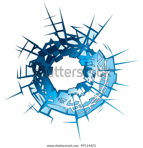 Bullet Hole in Glass. Vector Illustration