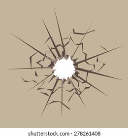 Bullet hole in material