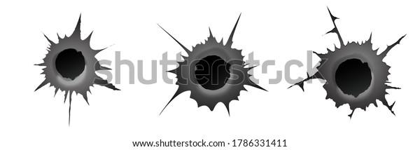 Bullet hole on white background. Set of realisic metal bullet hole, damage effect. Vector illustration