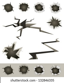 Bullet Holes, Cracks And Slashes Set/ Illustration of a set of bullet holes, slashes, earthquake cracks and various gunshot impact hollows
