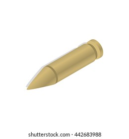 Bullet icon in isometric 3d style on a white background