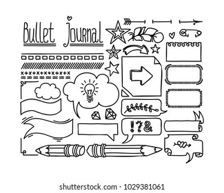 Bullet journal and diary elements. Cute Hand drawn Doodles frames and Banners. Hand drawn doodle set for notebook. Isolated on white set.