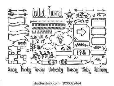 Bullet journal and diary elements isolated on white. Cute Hand drawn Doodle Banners. Days of week: Sunday, Monday, Tuesday, Wednesday, Thursday, Friday, Saturday. Hand drawn doodle set for notebook.