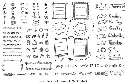 Bullet journal doodle set - hand drawn divider, icon, border decoration and week day names collection for decorative planner notebook elements, vector illustration