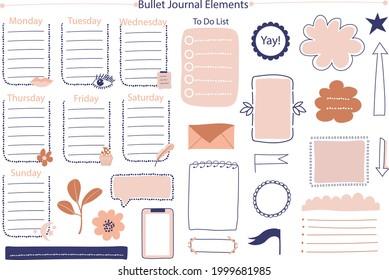 Bullet journal element. Handwritten sketch doodle. Diary planer, planner, calendar decoration design. Sketchbook symbol, label set. Bullet journal arrow, sticker, divider. Vector illustration.