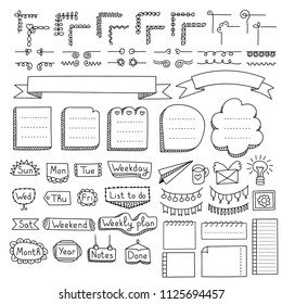 Bullet journal hand drawn vector elements for notebook, diary and planner. Doodle banners isolated on white background. Days of week, corners, list, frames, dividers, ribbons.