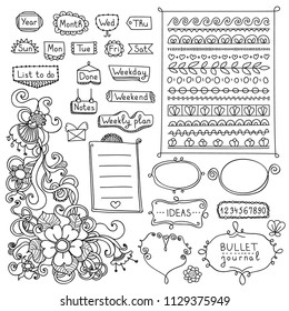Bullet journal hand drawn vector elements for notebook, diary and planner. Doodle banners isolated on white background. Days of week, notes, list, frames, dividers, flowers.