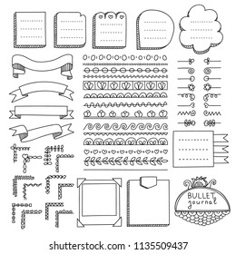 Bullet journal hand drawn vector elements for notebook, diary and planner. Doodle banners isolated on white background. Notes, list, frames, dividers, corners, ribbons.