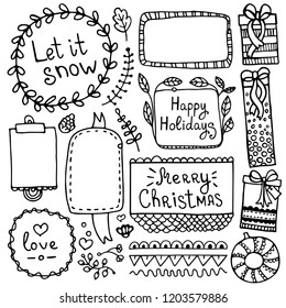 Bullet journal hand drawn vector elements for notebook, diary and planner. Set of doodle frames, banners and floral and Christmas elements isolated on white background.