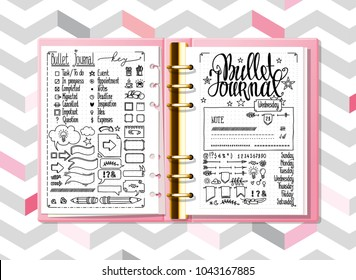 Bullet journal mock up. Hand drawn doodles elements for notebook, diary. Cute Hand drawn Doodle Banners isolated on white. Numbers and days of week lettering.
