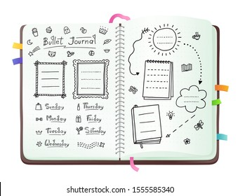 Bullet journal pages with doodle drawings and week layout, open notebook with hand drawn sketch doodles isolated on white background - trendy planner vector illustration