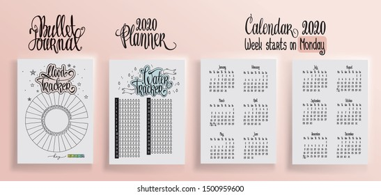 Bullet journal template. Water tracker. Mood tracker blank and lettering. 2020 calendar for diary vector illustrration. Hand written calendar in notebook. Week starts on Monday.