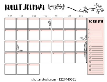 bullet journal year monthly planner. Vector illustration with handdrawing illustration