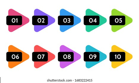 Bullet points, info markers. Triangle icon arrow set.  Number Flags 1 to 10 Flat design infographic isolated vector.