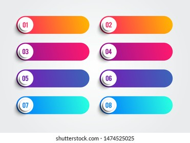 Bullet Points With Numbers 1 to 8 IN Colorful Text Boxes. Vector Web Element