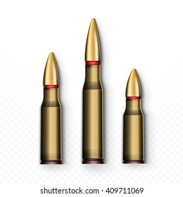 Bullet realistic isolated on white background. Sleeve, object cartridge