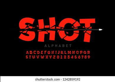 Bullet shot font, alphabet letters and numbers vector illustration