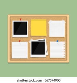 Bulletin board with blank paper notes, sticky paper and photos, flat design, vector eps10 illustration