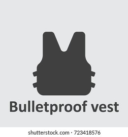 Bulletproof vest icon on the grey background.
