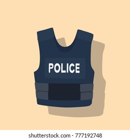 Bulletproof vest icon, vector illustration design. Police objects collection.