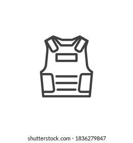 Bulletproof vest line icon. linear style sign for mobile concept and web design. Armor vest outline vector icon. Symbol, logo illustration. Vector graphics