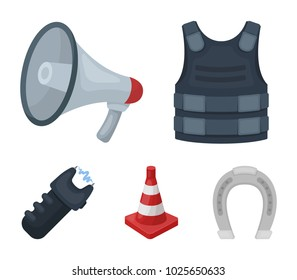 Bulletproof vest, megaphone, cone of fencing, electric shock. Police set collection icons in cartoon style vector symbol stock illustration web.