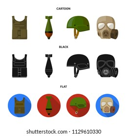 Bullet-proof vest, mine, helmet, gas mask. Military and army set collection icons in cartoon,black,flat style vector symbol stock illustration web.