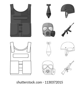 Bullet-proof vest, mine, helmet, gas mask. Military and army set collection icons in outline,monochrome style vector symbol stock illustration web.