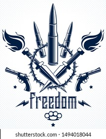 Bullets and guns vector emblem of Revolution and War, logo or tattoo with lots of different design elements, anarchy and chaos concept, criminal and gangster style, social tension theme.
