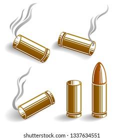 Bullets and used cartridges vector illustrations set, ammo for 9mm handgun gun.